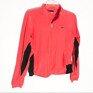Orange and black Nike Dri-Fit Zip Up Top Large